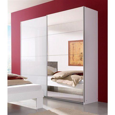 Armoire penderie 2 portes coulissantes 1 avec verre blanc + 1 avec - armoire ikea porte coulissante