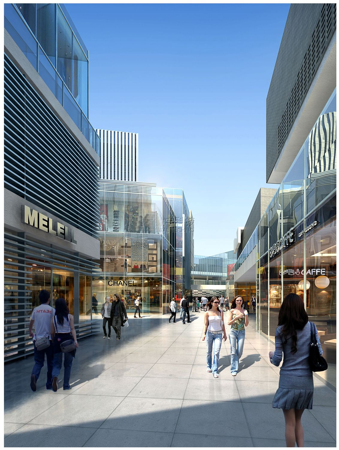 Shopping Mall Exterior Rendering Retail Architecture
