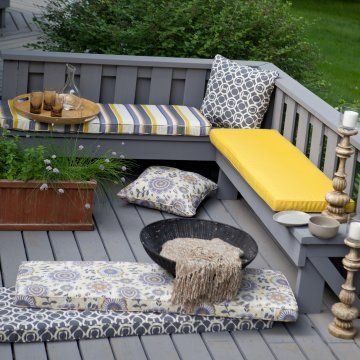 Inspiration For Porch Swing Mix Prints And Stripes And Solids For Pillows Garden Bench Cushions Outdoor Storage Bench Outdoor Furniture Cushions