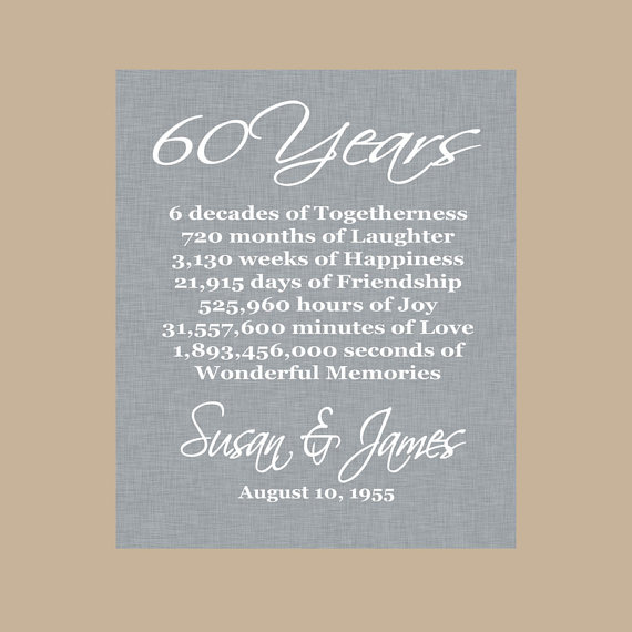 Cool Wedding Gifts For Young Couples: 60th Anniversary Gift, Diamond Anniversary, Personalized