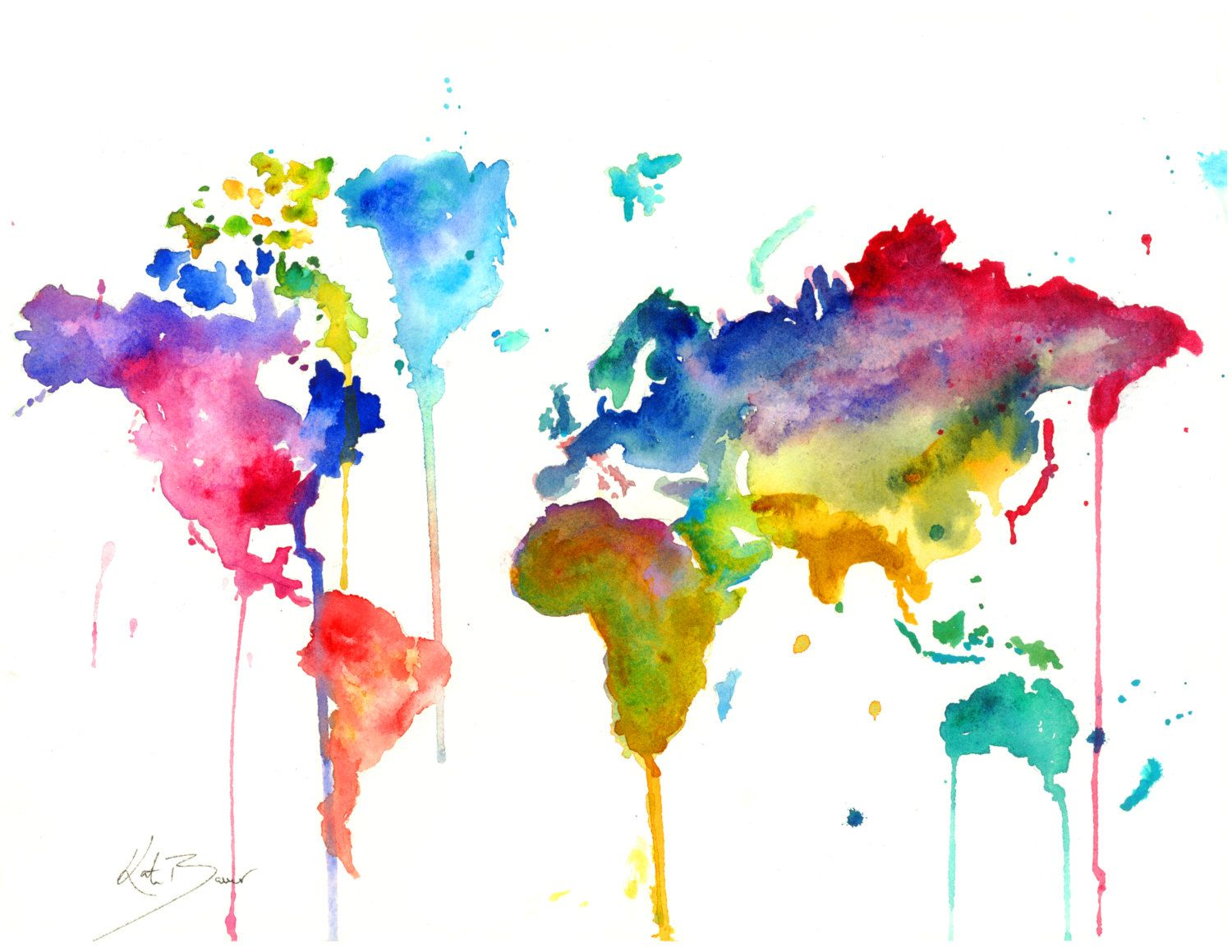 World map print of original watercolor illustration epson inkjet love the dripping style gumiabroncs Image collections