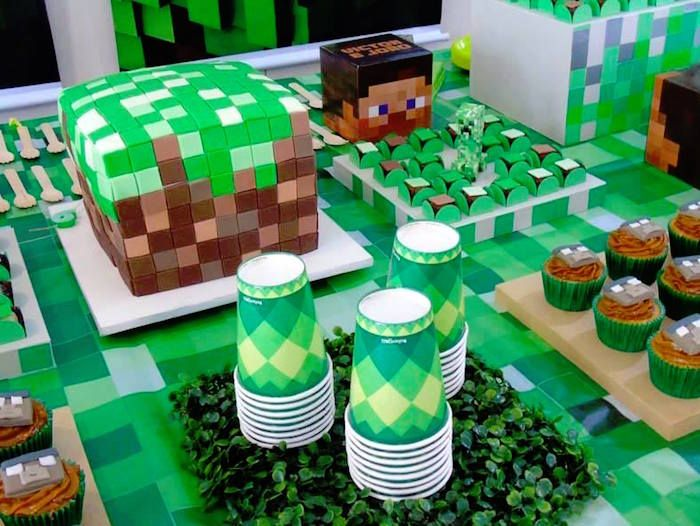 Cake, Cups and Sweets from a Minecraft Birthday Party via Kara's Party Ideas | KarasPartyIdeas.com (3)