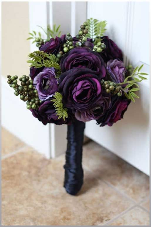 Mississippi Bridal Bouquet Flowers Purple Ranunculus Definitely A White Wrap Instead Of The Dark Navy Blue Here But I Like And Green