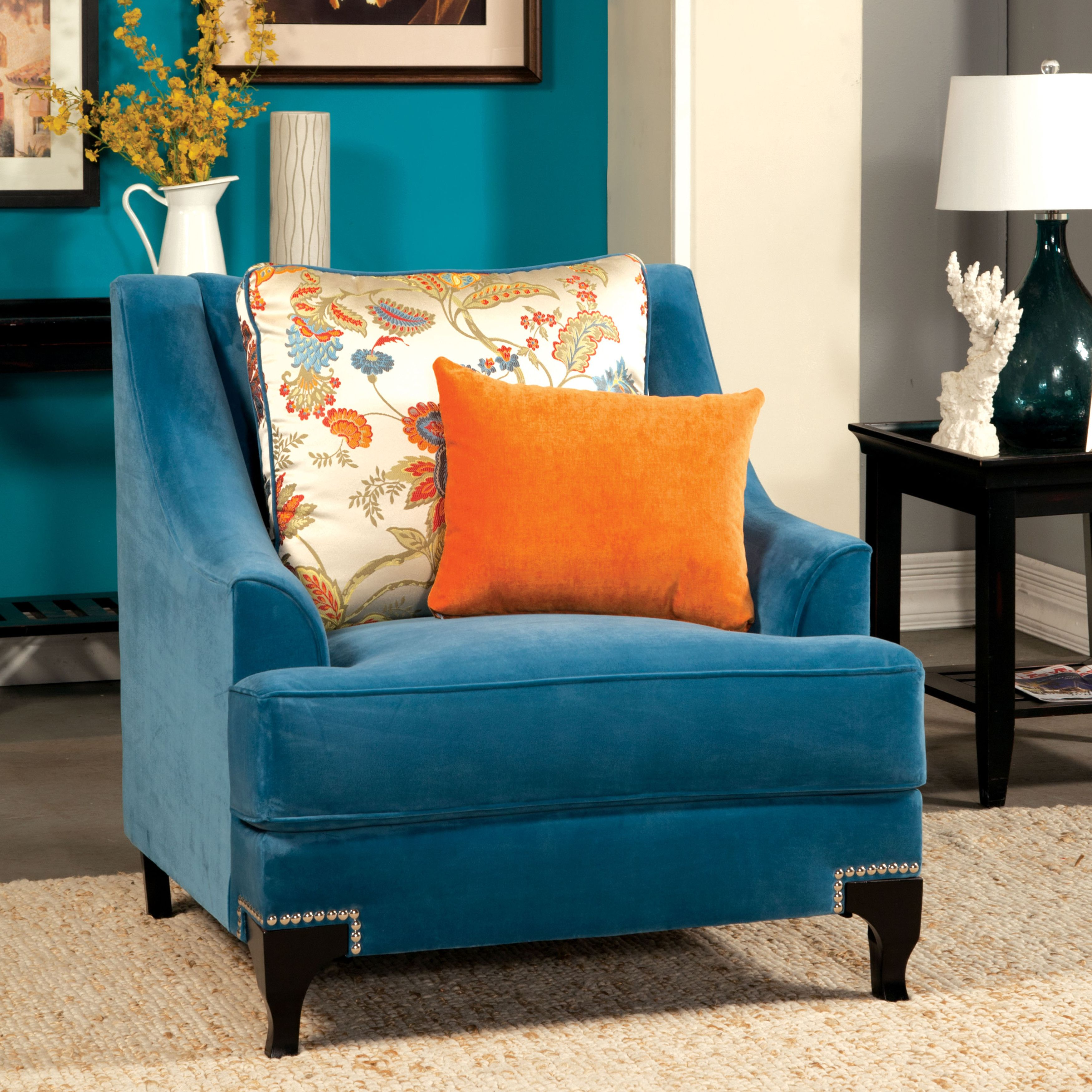 Darby Home Co Back East Arm Chair Blue Accent Chairs