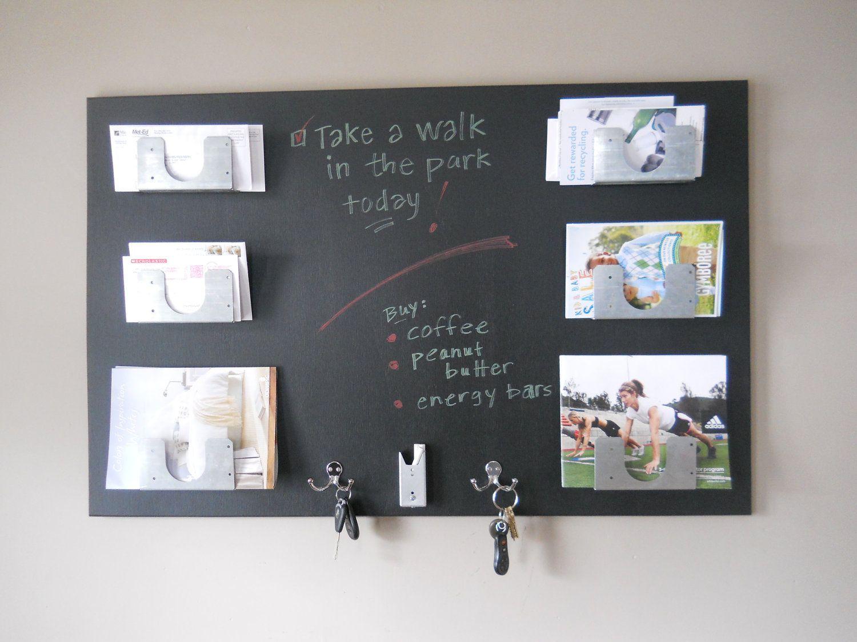 Mail Organizer Modern Chalkboard Wood Wall Mounted Metal Pockets And Hooks