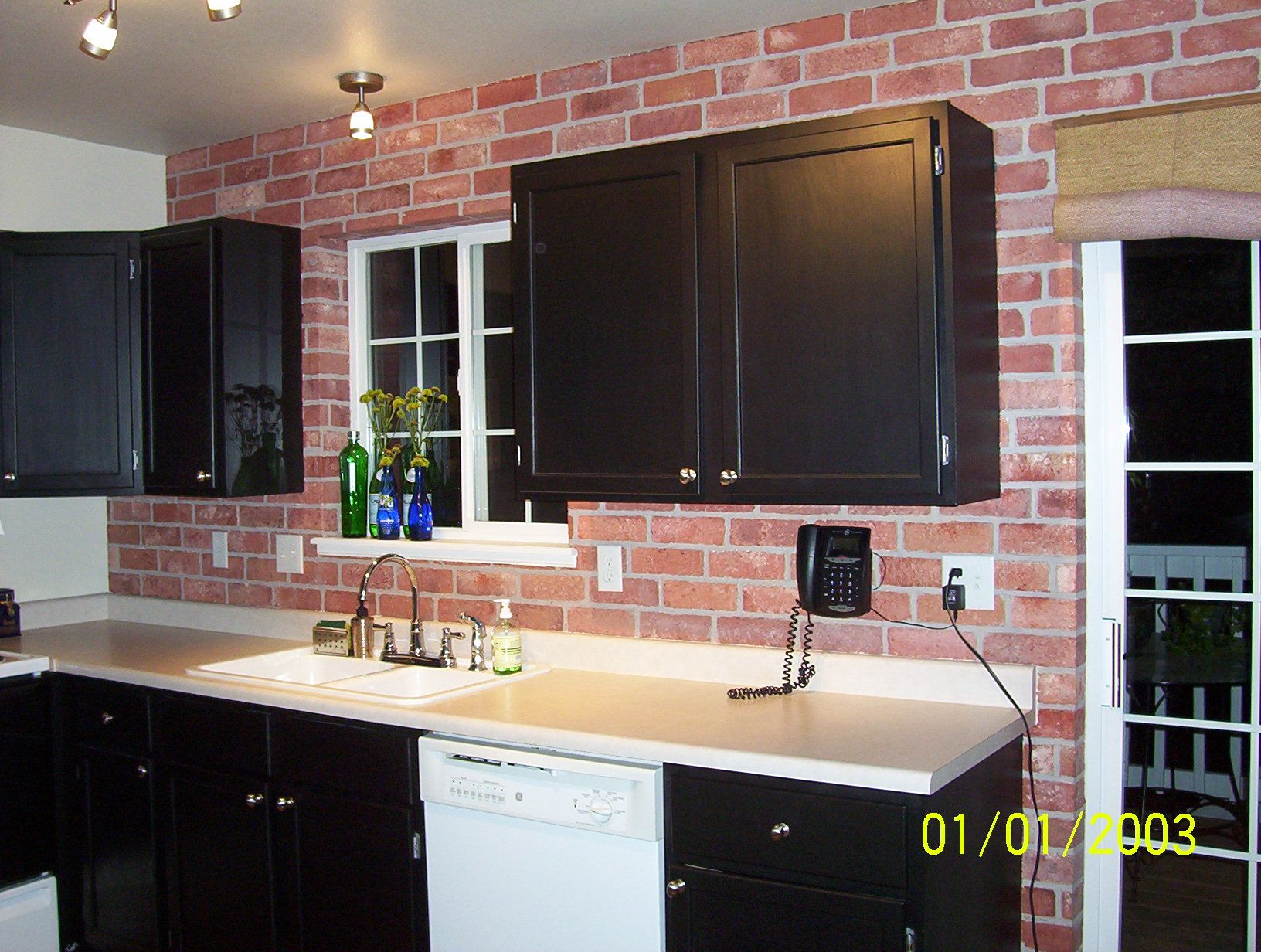 Oak Cabinets Painted Black Bricks Made Out Of Drywall Compound