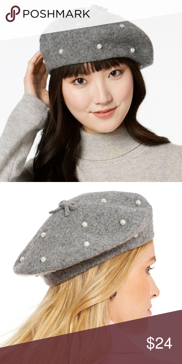 e15b6a2797435 Kate Spade New York Pearl Wool Beret Hat Gray You will receive the exact  item as
