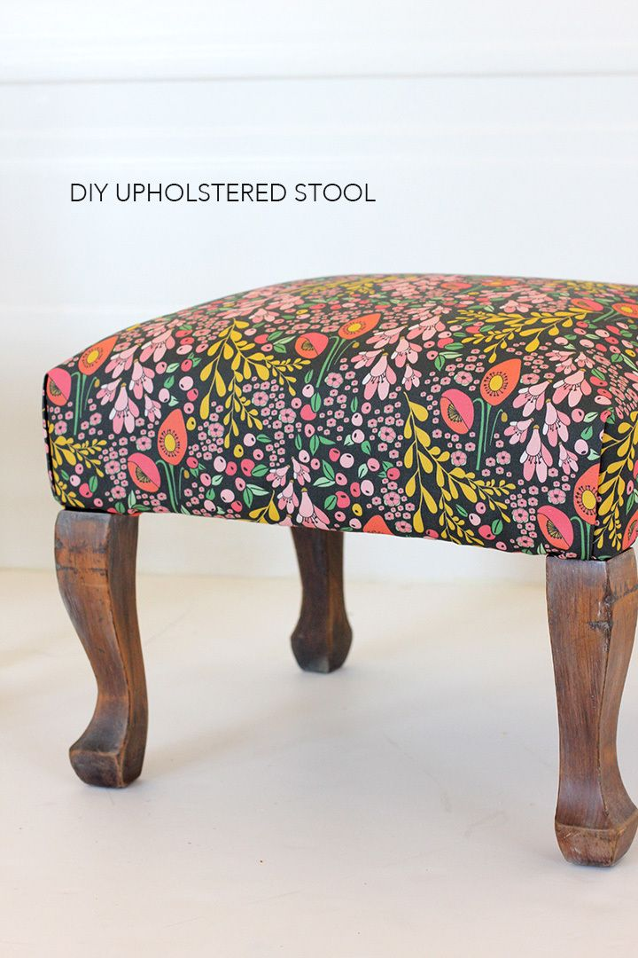 Beautiful Reupholstered Floral Stool Upholstered Stool Linen Upholstery Fabric Upholstery
