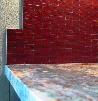Kitchen Ceramic Tiles Red Bamboo Backsplash
