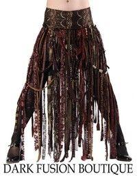 Skirt, Browns, Cabaret, Vaudeville, Steampunk, Noir, Gothic, Tribal, BellyDance, Dark Fusion Boutique