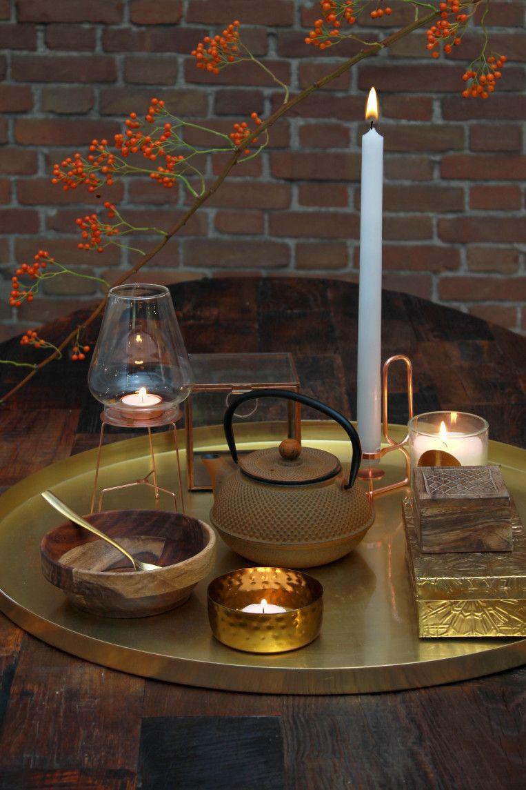 herfst styling interieur warme kleuren, koper en goud | Skultuna ...