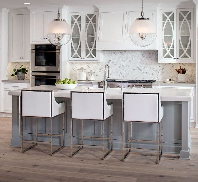 Download Wallpaper White Kitchen With Gray Painted Island