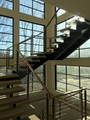 Contemporary Floating Double Steel Stringer With Oak Treads And Cable  Railing