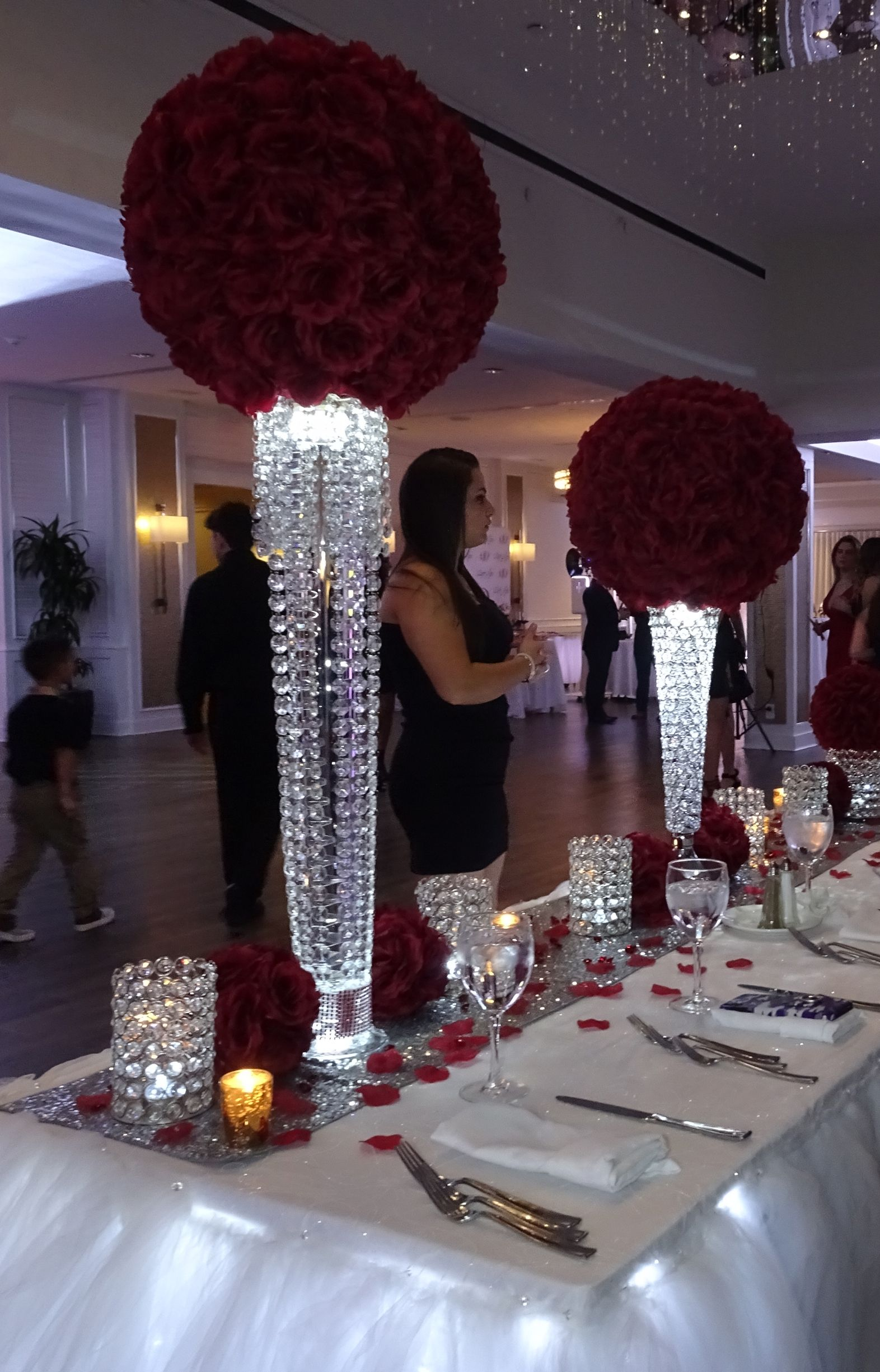 Burgundy Rose Ball Pomander Centerpiece Rentals Centerpiece Rentals Pomander Centerpiece Bling Wedding Centerpieces