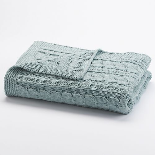 Kohls Throw Blankets Brilliant Sonoma Lifestyle Chenille Cable Knit Throw  Aqua Sonoma Httpwww Inspiration