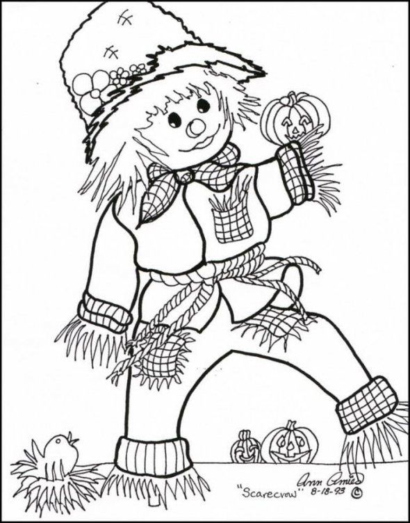 Scarecrow Coloring Pages | HALLOWEEN SCARECROW COLORING PAGES « Free ...