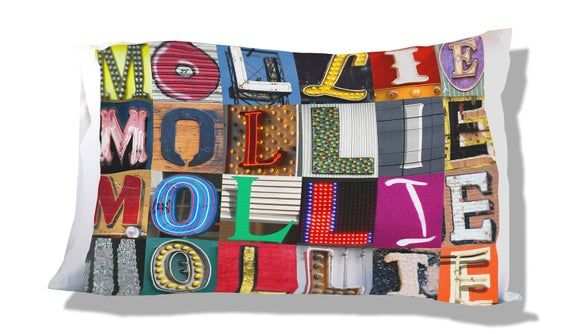 Personalized Pillow Case featuring MOLLIE in sign letters; Custom pillowcases; Teen bedroom decor; C