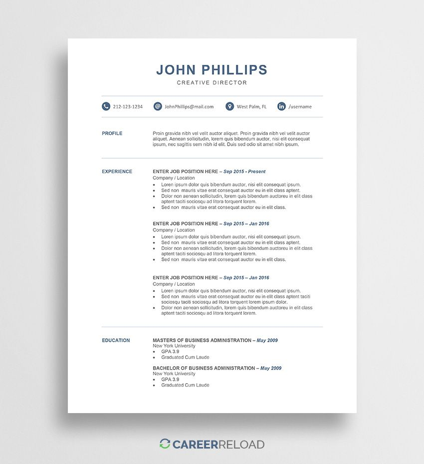 traditional resume template word download