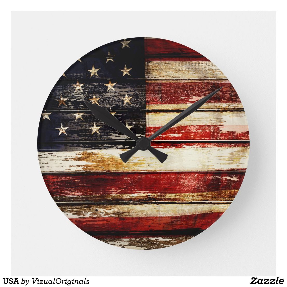 USA ROUND CLOCK Clock, Primitive wood signs