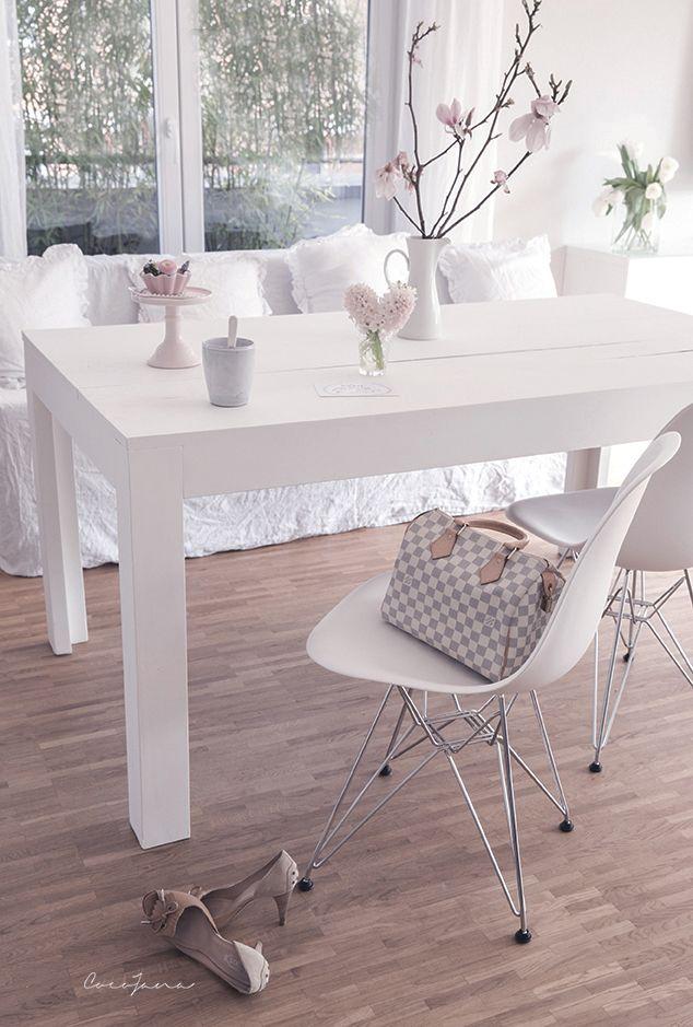 2 wei e eames chair und der gestrichene esstisch cocojanacocojana kreidefarbe pinterest. Black Bedroom Furniture Sets. Home Design Ideas