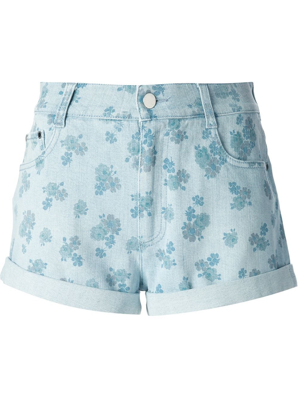 Pale blue stretch cotton floral print denim shorts from Stella McCartney featuring belt loops, a button and zip fly, a five pocket design and turn up hems.