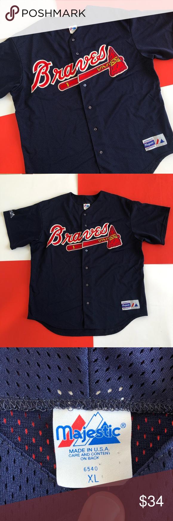 Vintage Majestic Atlanta Braves Baseball Jersey In 2020 Atlanta Braves Baseball Atlanta Braves Braves