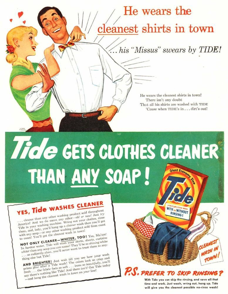 1951 Ad Tide Laundry Detergent Wife Husband Clothes Art