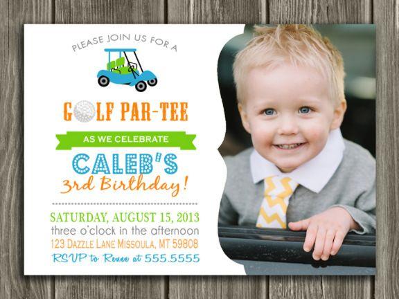 Printable Birthday Invitations For Boy ~ Printable kids golf birthday photo invitation boy birthday party