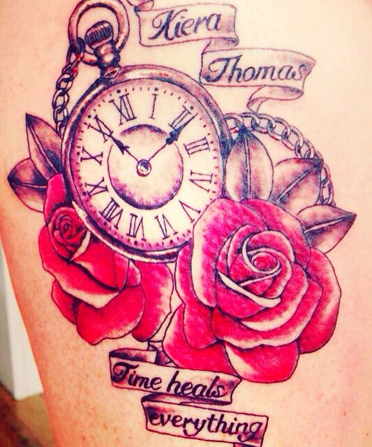 Women S Rose And Clock Tattoo Rose And Clock In Memory Tattoo On Thigh Numbers 11 11 Special Numbers On The Clock Rose Tattoos Tattoos Memorial Tattoos