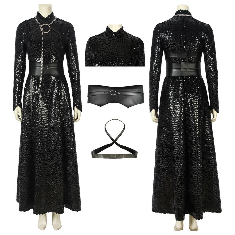 Game of Thrones S8 Sansa Stark Cosplay Costume Black Scale