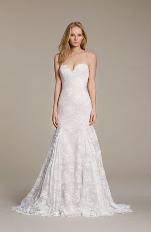 sweetheart fit and flare wedding dress with natural waist