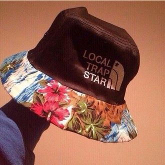 5f4fc35b415 hat cute cute hat floral hat bucket hat trapstar floral north face  fisherman hat fisherman local trap star black blue rihanna trap star floral  bucket hat ...