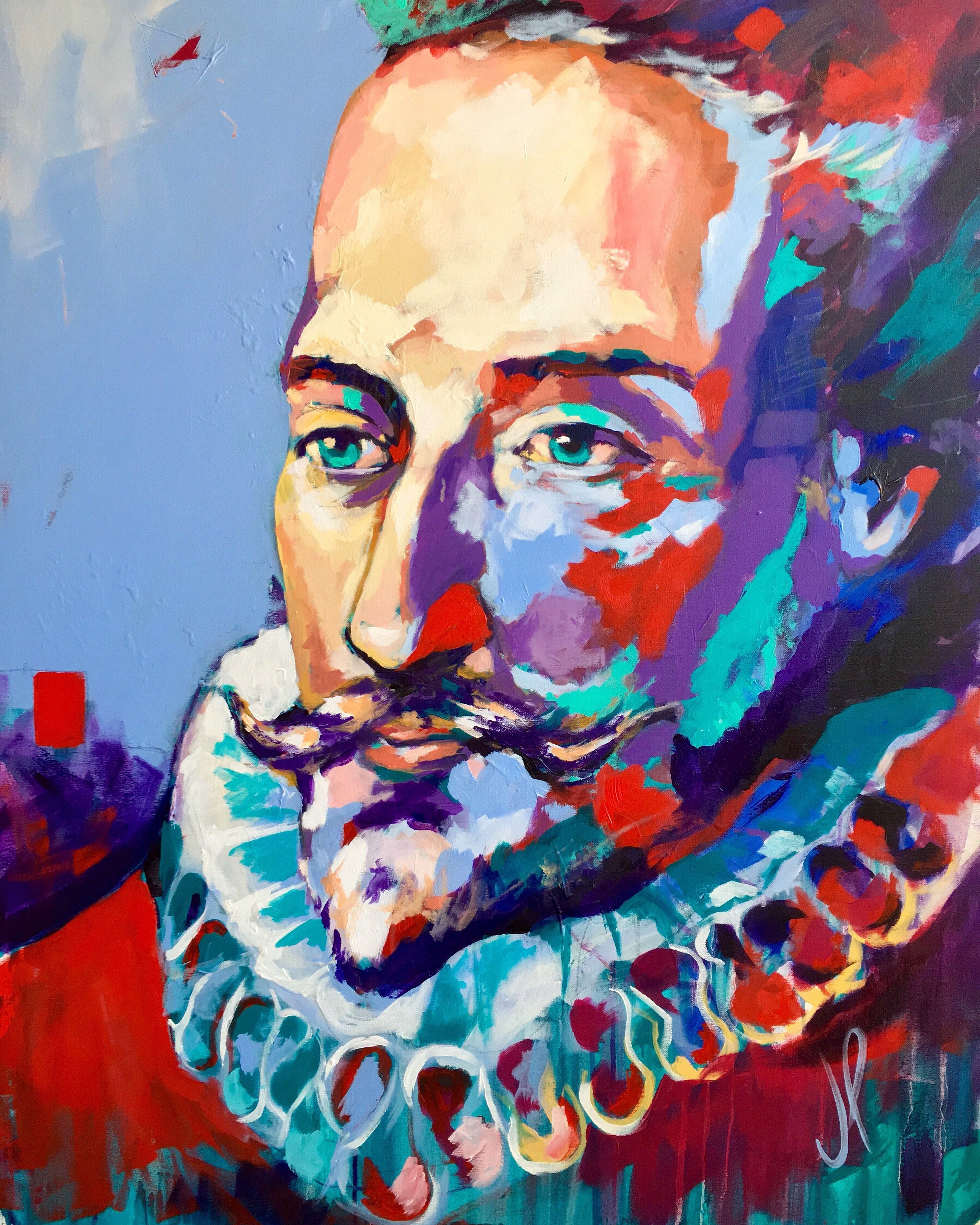 Miguel de Cervantes Saavedra - Acrylic on Canvas 116x89cm by Javier Peña |  Artistas, Miguel de cervantes saavedra, Cervantes saavedra