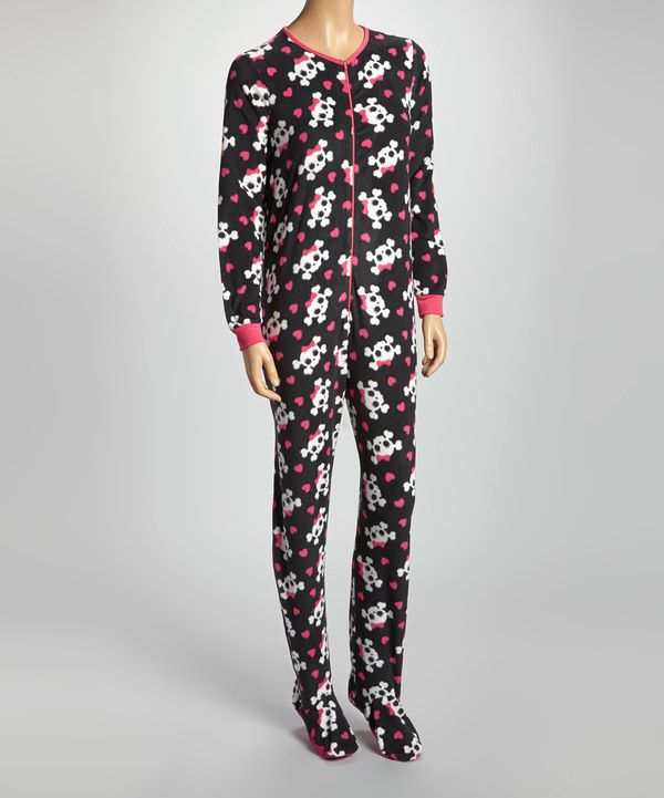 578eaa7fd0c Id wear these lol Take a look at this René Rofé Black   Pink Skull  Footloose Footie Pajamas - Women on zulily today!