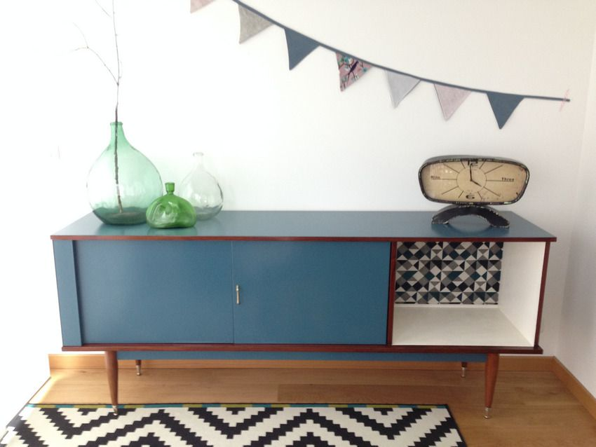 enfilade buffet vintage style scandinave bleu gris et. Black Bedroom Furniture Sets. Home Design Ideas