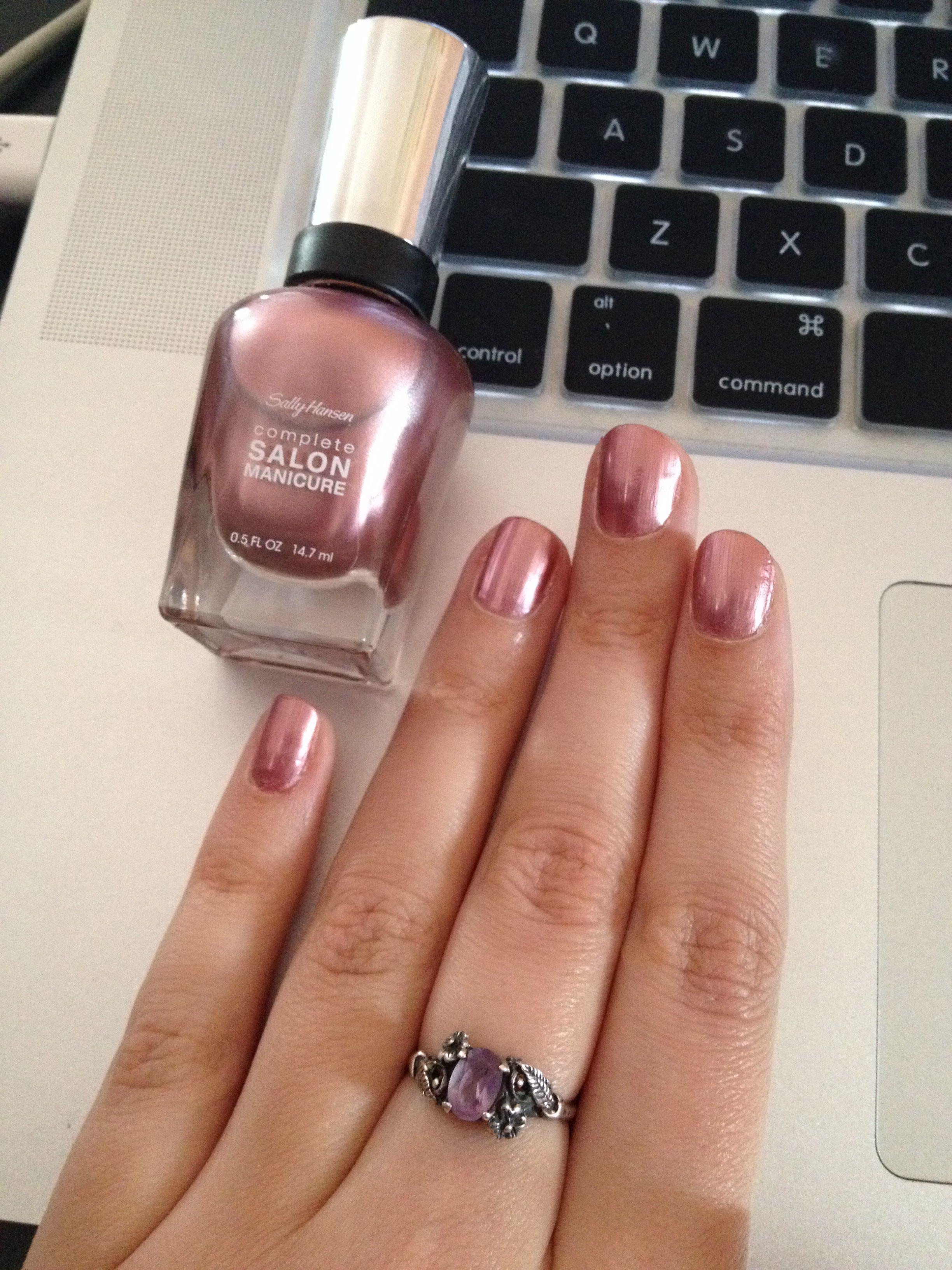 Sally Hansen Complete Salon Manicure Raisin The Bar Metallic Rose Color Gold Nails