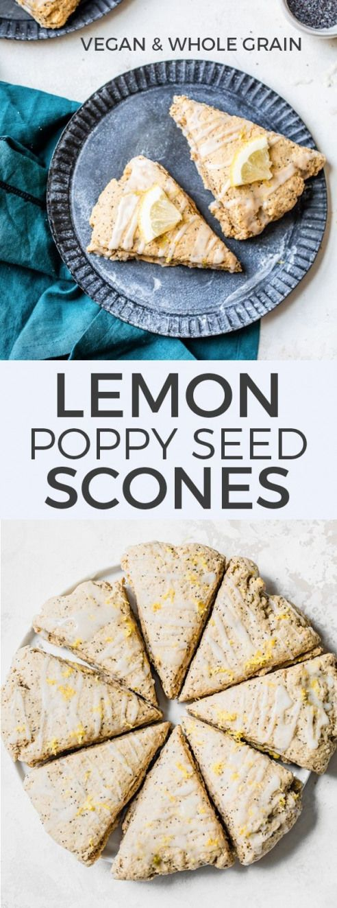 The best lemon poppy seed scones! Healthy scones made with whole grain flour and coconut oil for a vegan scone recipe.