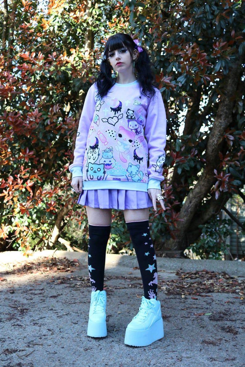 Magic cats Sweatshirt kawaii pastel goth creepy cute | Etsy