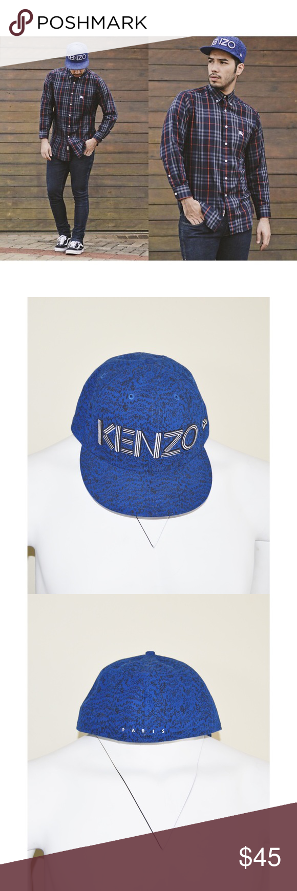 Kenzo Blue New Era Hat Kenzo Blue New Era Hat Size 8 Kenzo Accessories Hats New Era Hats Kenzo Clothes Design