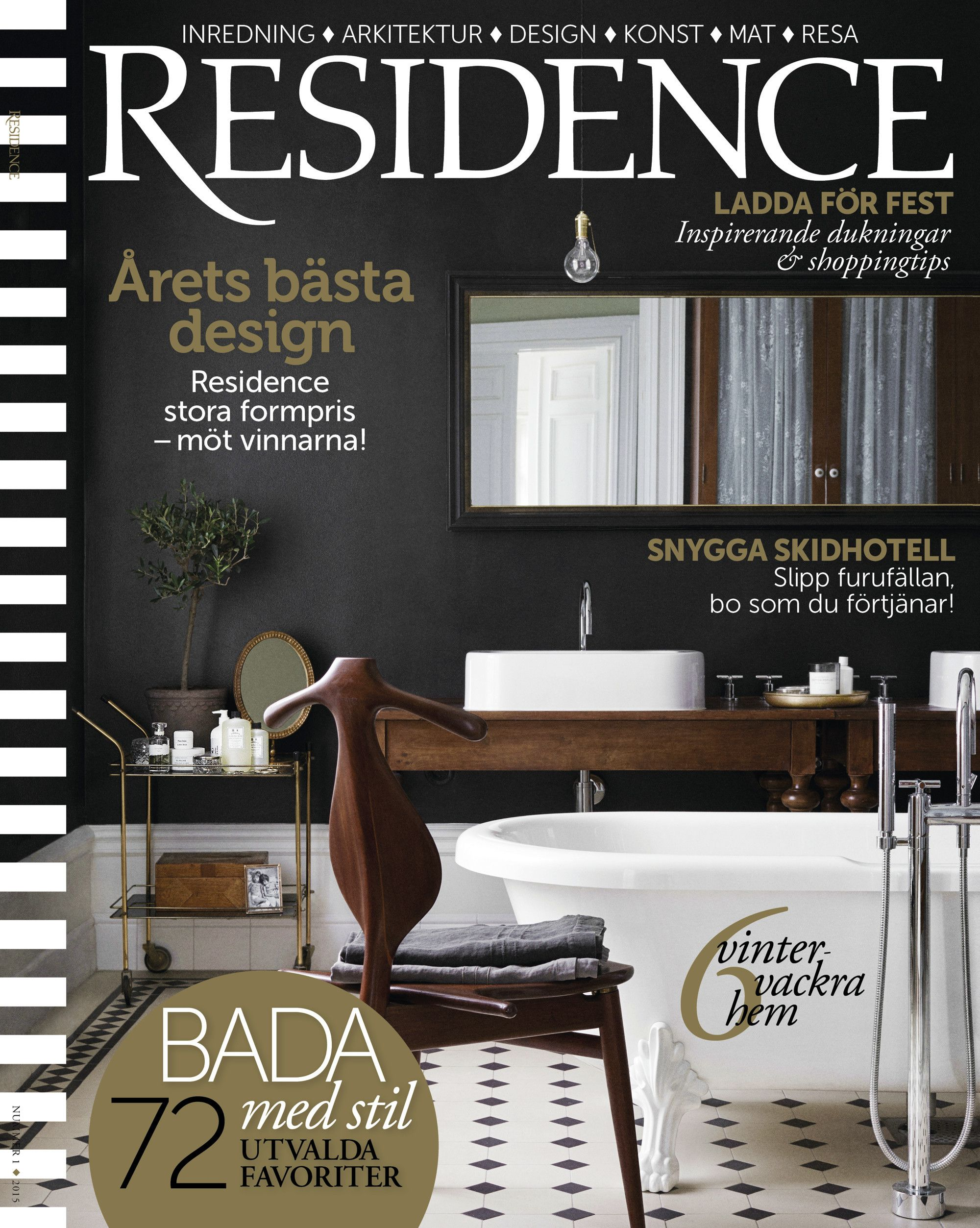 Residence Cover Styling by Lotta Agaton and Photography by Mikkel Mortensen. Bathroom styling with black walls