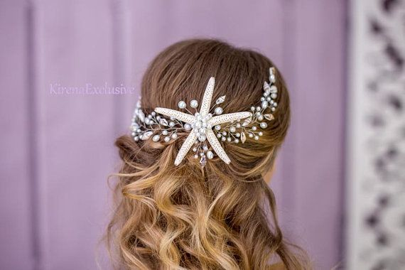 Beach wedding hair accessories Starfish headpiece