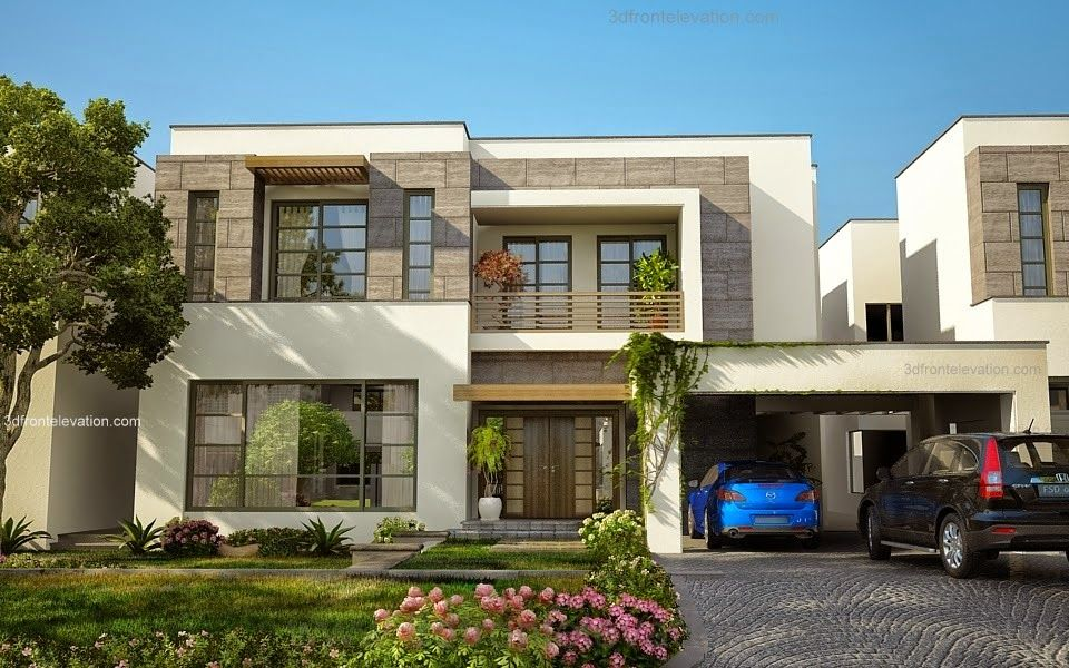 Beautiful modern house 1 kanal lahore fachadas for Images of front view of beautiful modern houses
