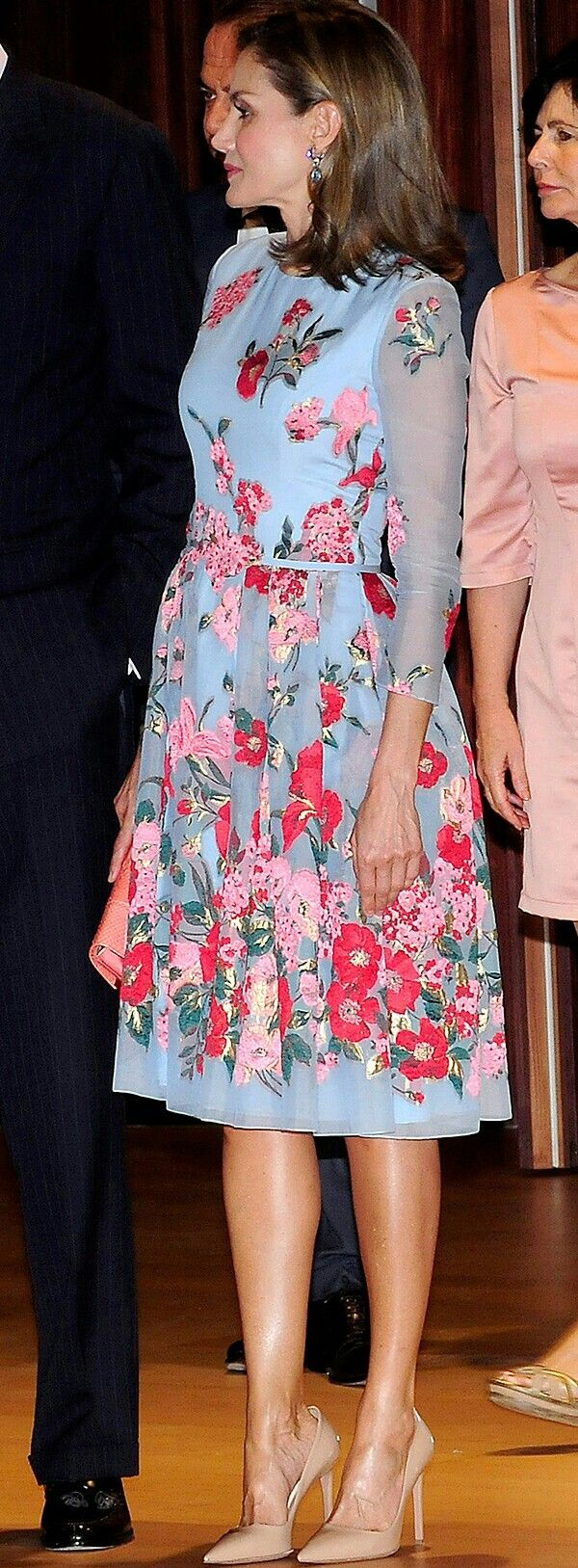 Queen Letizia - Carolina Herrera blue embroidered dress with pretty ...