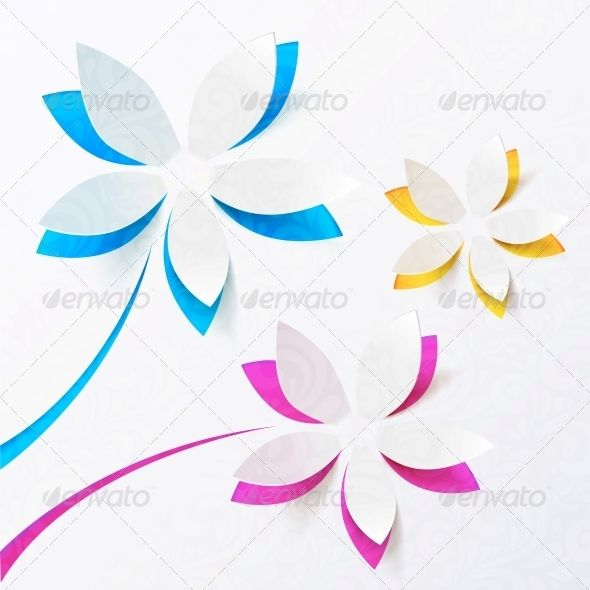 Paper Flowers Vector Greeting Card Template Pinterest Greeting - greeting card template