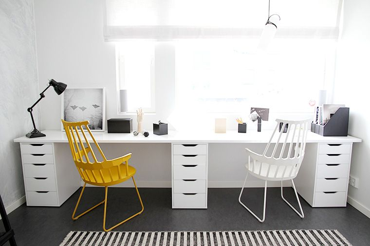 Long desk artist workspaces werkkamer bureau and