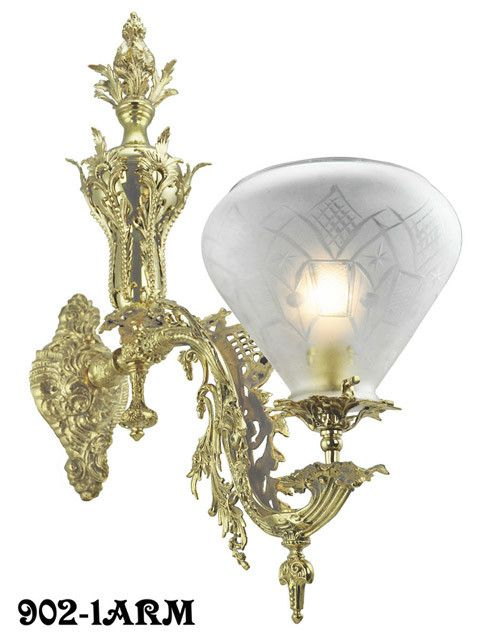 Victorian Wall Sconce - Neo Rococo Starr-Fellows 1 Arm. These were high end fixtures even 100 years ago. This single sconce is made out of heavy solid brass, compared to Starr & Fellows' later, thinner lights. Our recasting is from the heavier fixture.