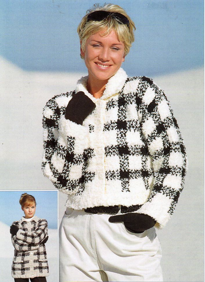 ed5fb31d8 womens chunky chenille jacket coat knitting pattern pdf ladies cardigan  checked 32-42
