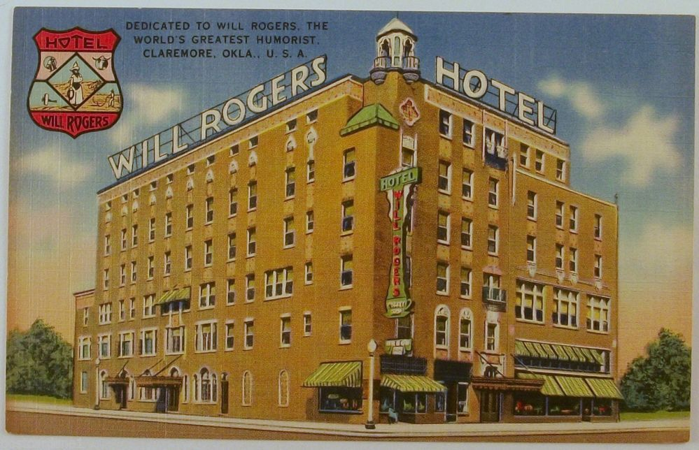 Will Rogers Hotel Claremore Oklahoma Ok Linen Postcard Collectible