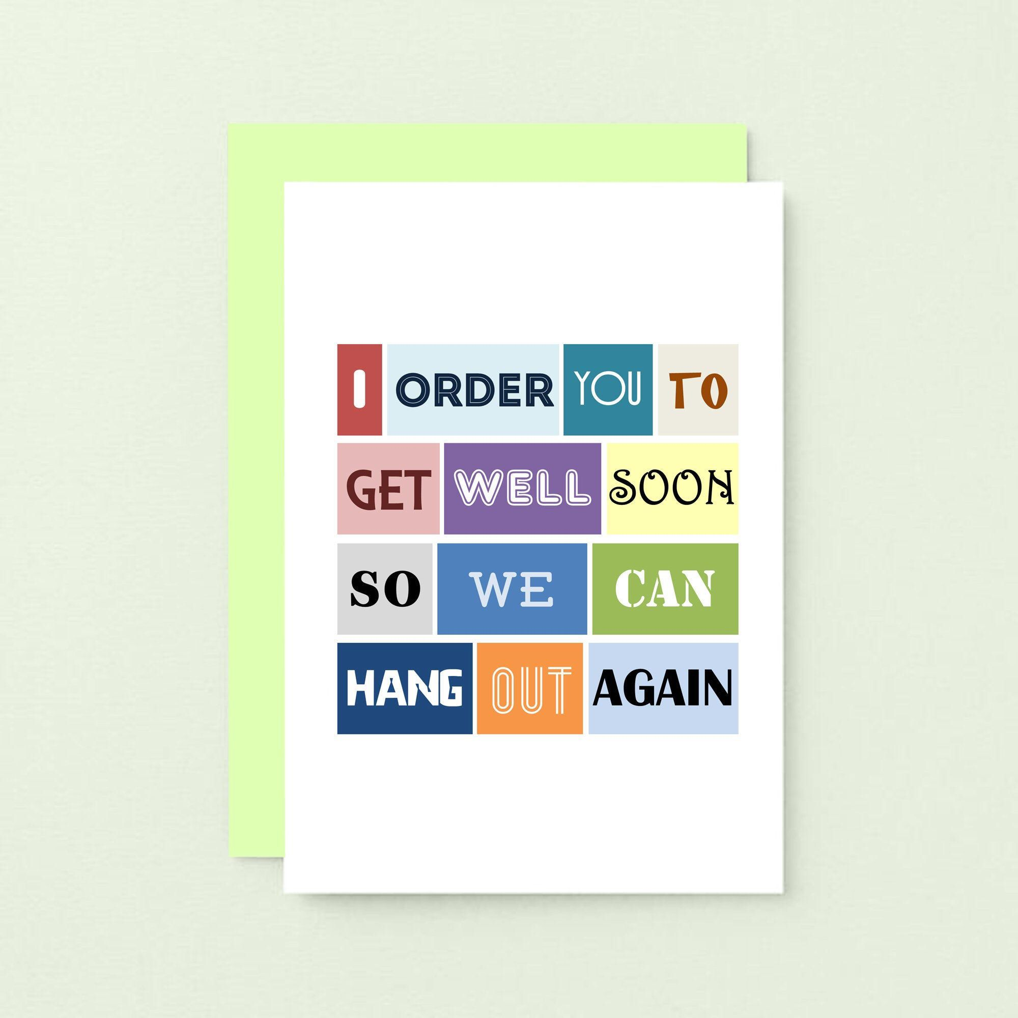 Funny get well soon card thinking of you card feel