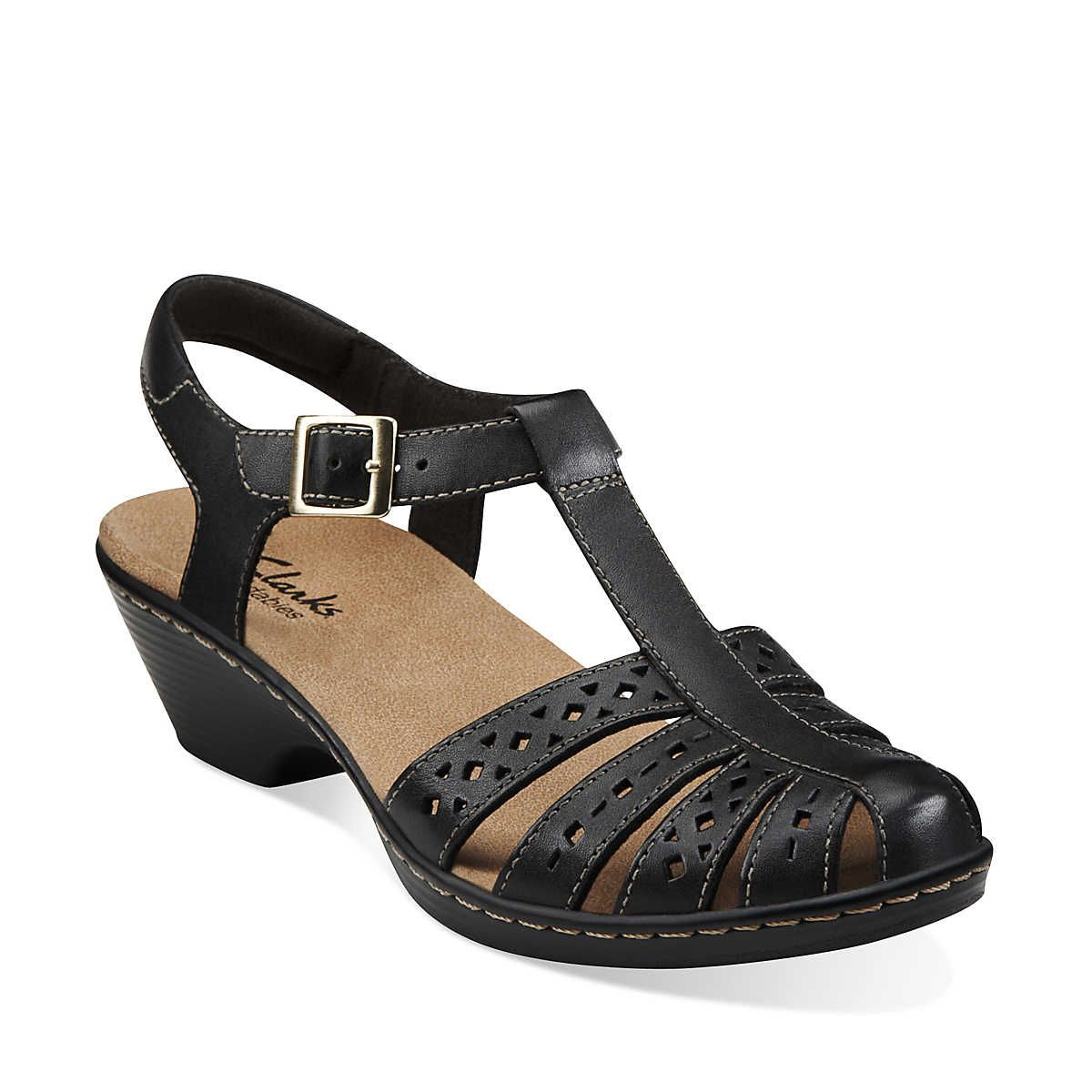 Wendy Lily in Black Leather Womens Sandals from Clarks